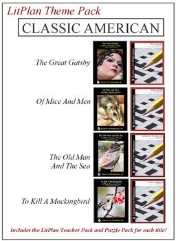 Classic American Novel Unit Theme Pack Bundle