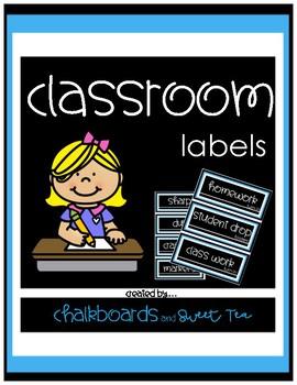 Classic Blue Classroom Labels