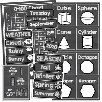 Chalkboard Classroom Decor Calendar Math