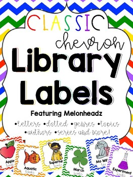 Classic Chevron Library Labels feat. Melonheadz with corresponding stickers