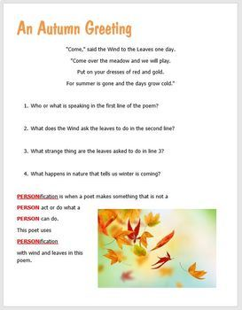 BEGINNER'S POETRY Classic Children's Poetry Rhyme and Personification Activity