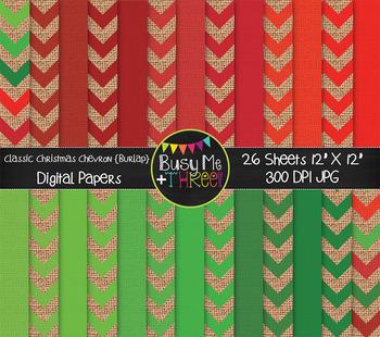 Classic Christmas Chevron Burlap Digital Papers {Commercia