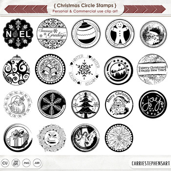 Classic Christmas Circle Stamps, Happy Holidays, Monochromatic