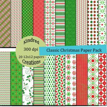 Classic Christmas Digital Paper Pack