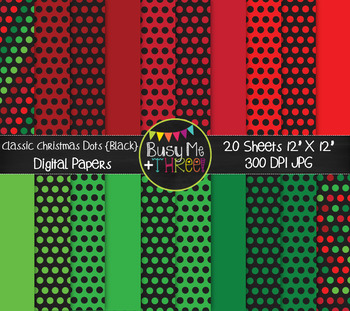 Classic Christmas Dots on Black Digital Papers {Commercial Use Graphics}