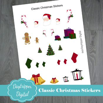 Classic Christmas Stickers with Santa, Candy Canes, Bells and more