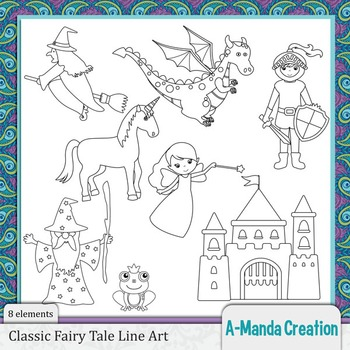 Classic Fairy Tale Characters Line Art and Digital Stamps