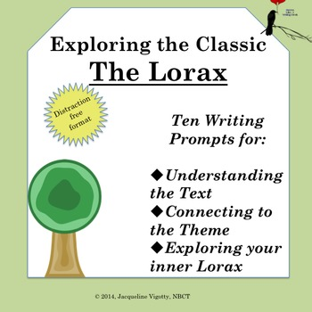 Lorax Written Response Questions, Recall, Infer, Critical Thinking, Earth Day