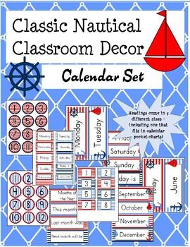 Classic Nautical Classroom Theme Calendar Set