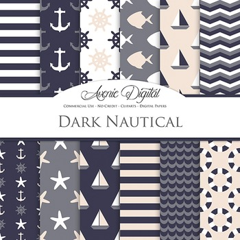 Classic Nautical Nautical Digital Paper patterns - sea backgrounds