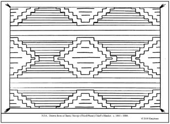 Classic Navajo Chief's Blanket.  Coloring page and lesson plan ideas