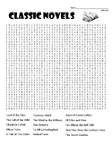 Classic Novels difficult word search and coloring page   (SUB PLAN use?)