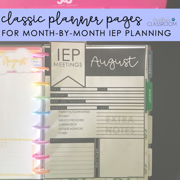 Classic Planner Pages | For IEP Meetings