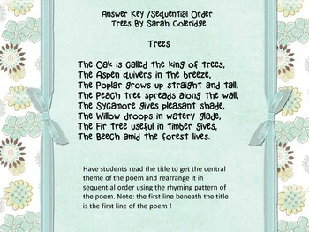 Classic Poems for Children Rhyming Words/Sequential Order