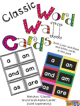 Classic Polka Dot and Black & White Word Cards for Word Wall