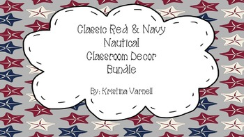 Classic Red and Navy Nautical Classroom Decor Bundle