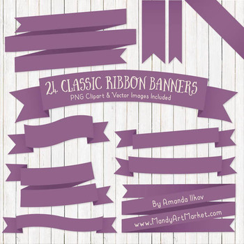 Classic Ribbon Banner Clipart in Amethyst