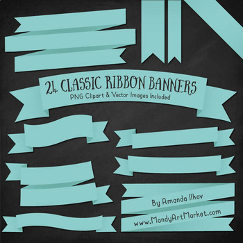 Classic Ribbon Banner Clipart in Aqua