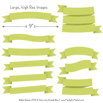Classic Ribbon Banner Clipart in Bamboo