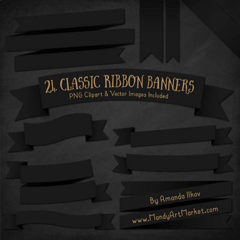 Classic Ribbon Banner Clipart in Black