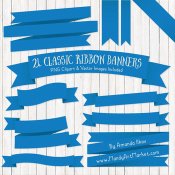 Classic Ribbon Banner Clipart in Blue