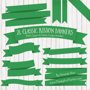 Classic Ribbon Banner Clipart in Green