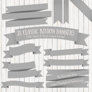 Classic Ribbon Banner Clipart in Grey