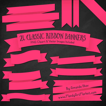 Classic Ribbon Banner Clipart in Hot Pink
