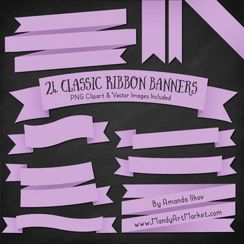 Classic Ribbon Banner Clipart in Lavender
