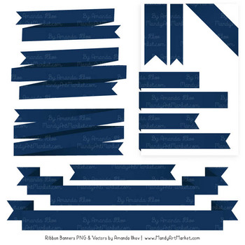 Classic Ribbon Banner Clipart in Navy
