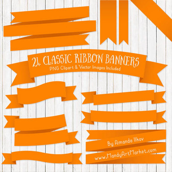 Classic Ribbon Banner Clipart in Orange