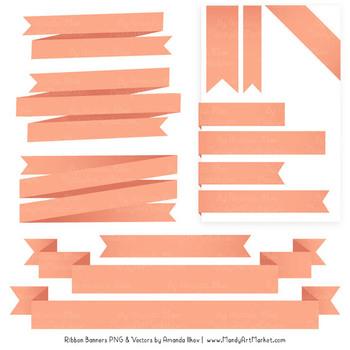 Classic Ribbon Banner Clipart in Peach