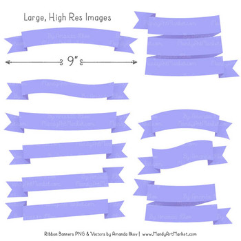 Classic Ribbon Banner Clipart in Periwinkle