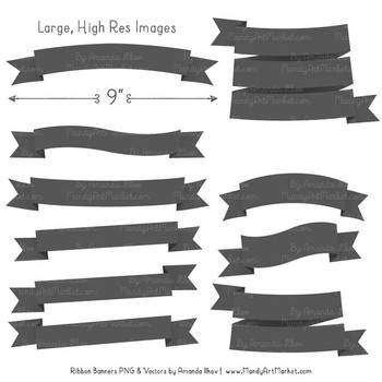 Classic Ribbon Banner Clipart in Pewter