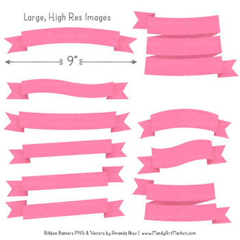 Classic Ribbon Banner Clipart in Pink