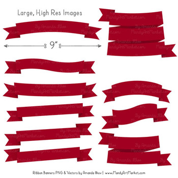 Classic Ribbon Banner Clipart in Ruby