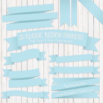 Classic Ribbon Banner Clipart in Soft Blue