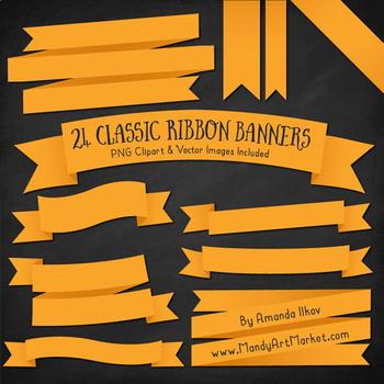 Classic Ribbon Banner Clipart in Sunshine