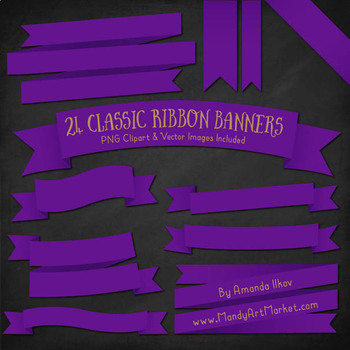 Classic Ribbon Banner Clipart in Violet