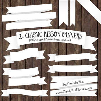 Classic Ribbon Banner Clipart in White