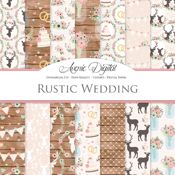 Classic Rustic Wedding Digital Paper - Pink and Mint Wedding Seamless Patterns
