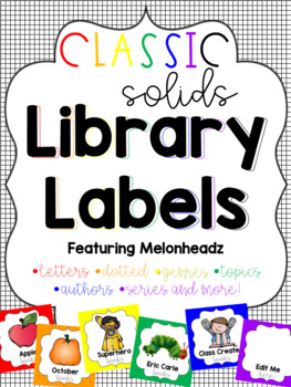 Classic Solid Library Labels feat. Melonheadz with corresponding stickers