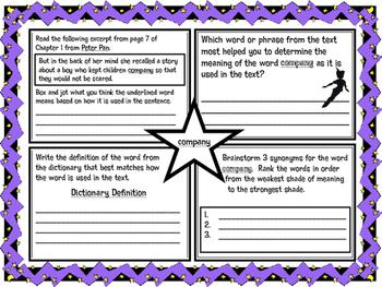 Classic Starts Peter Pan Chapter 1 Vocabulary Organizer NYS Module 3