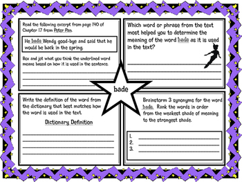 Classic Starts Peter Pan Chapter 17 Vocabulary Organizer NYS Module 3