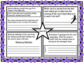 Classic Starts Peter Pan Chapter 3 Vocabulary Organizer NYS Module 3