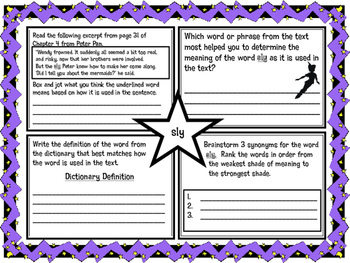 Classic Starts Peter Pan Chapter 4 Vocabulary Organizer NYS Module 3