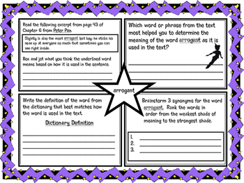 Classic Starts Peter Pan Chapter 6 Vocabulary Organizer NYS Module 3