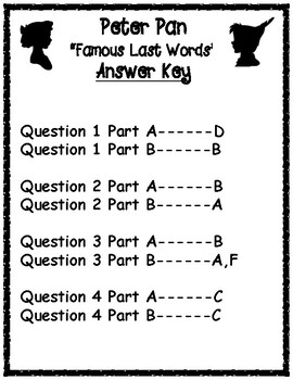 Classic Starts Peter Pan EBSR Comprehension Question Sets for Chapter 1