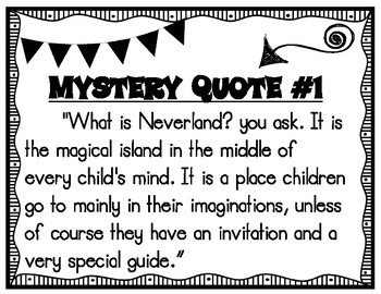 Classic Starts Peter Pan Mystery Quotes Pre-Reading Activity