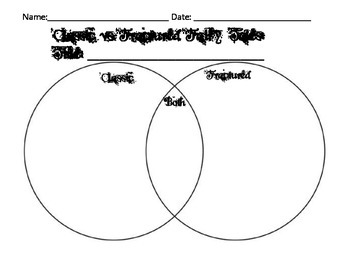 Classic and Fractured Fairy Tales Venn Diagram